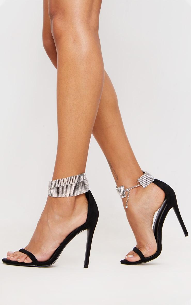 Black Diamante Cuff Detail Heeled Sandal 1