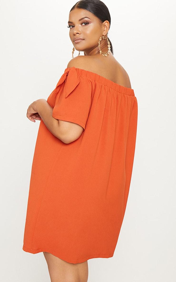 Plus Orange Crepe Bardot Swing Dress 2