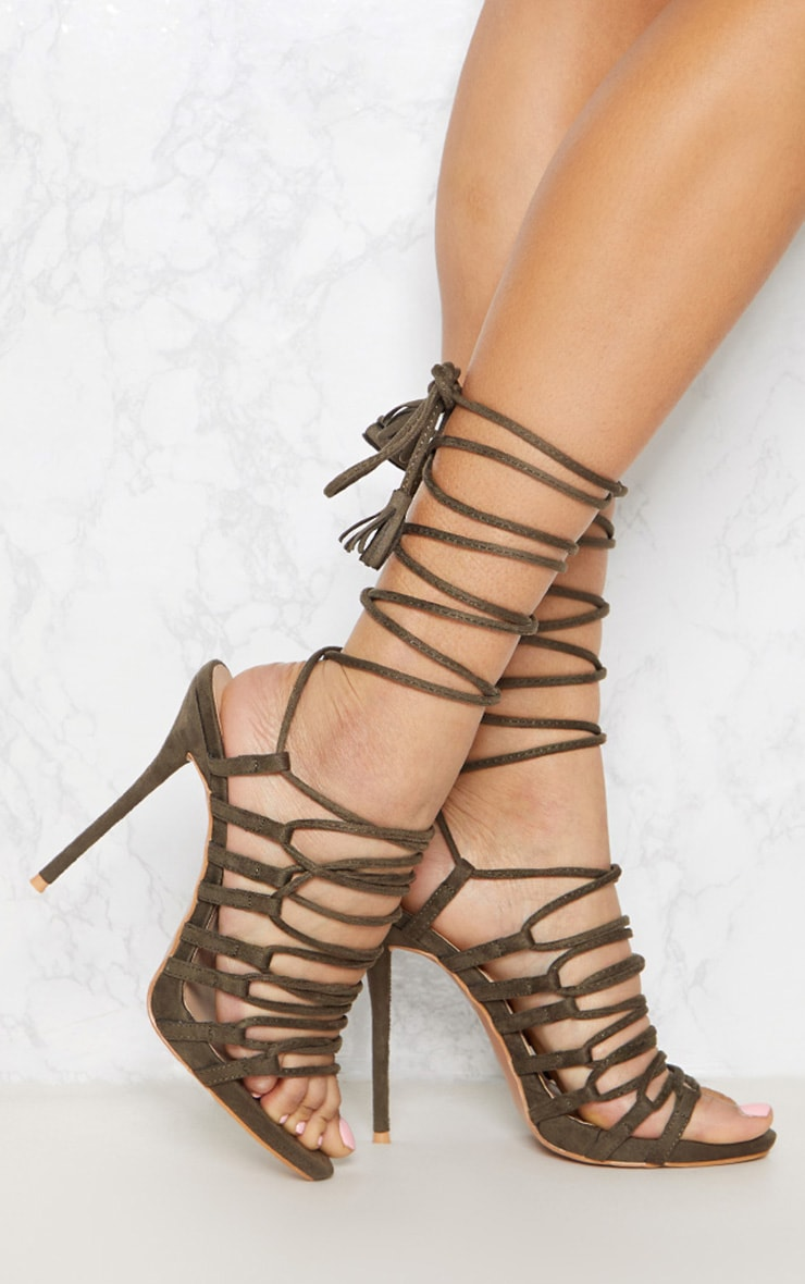 Khaki Strappy Ghillie Tie Sandal 1