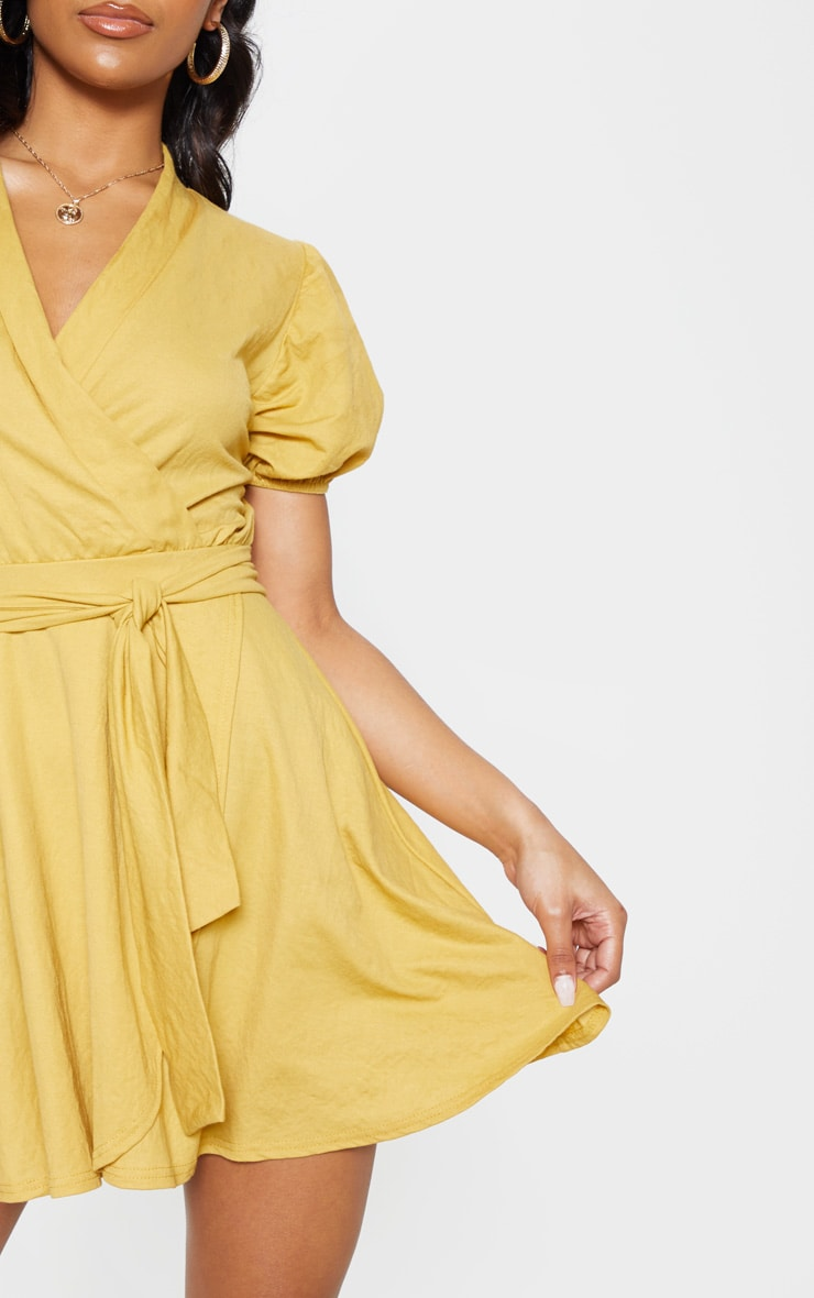 Mustard Puff Sleeve Waist Tie Skater Dress 6