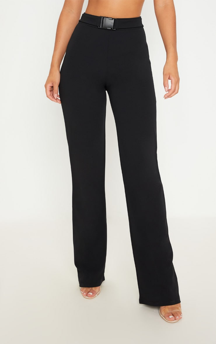 Black Belted Waist Straight Leg Trousers 2
