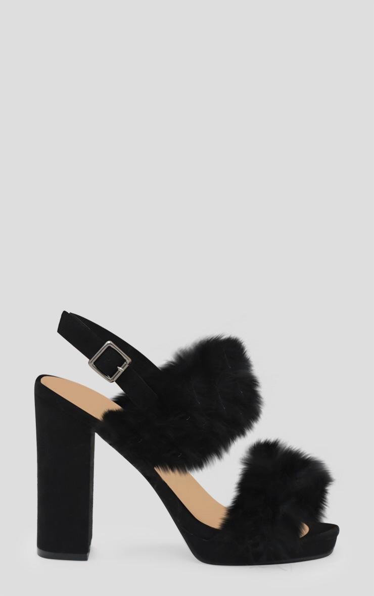 Black Twin Strap Faux Feather Platform Sandal 3