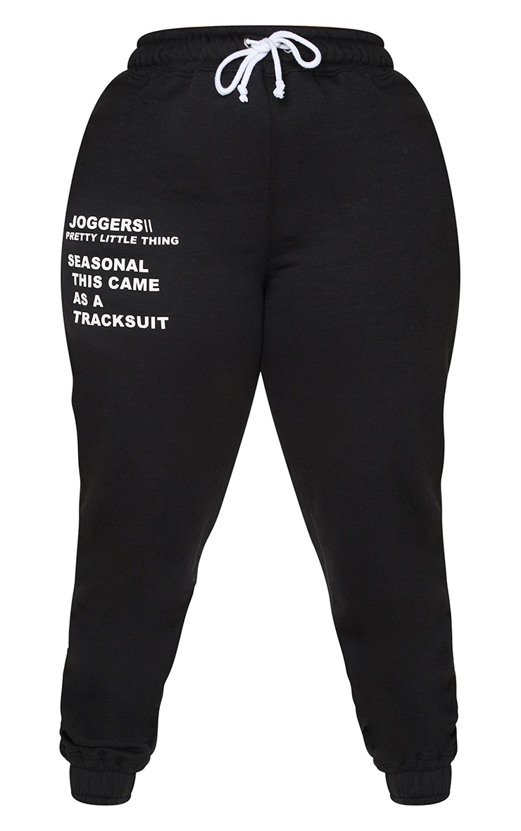PRETTYLITTLETHING Plus Black Slogan Print Joggers 5