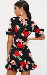 c98befd946 Black Corset Floral Swing Dress image 2