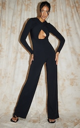 Recycled Tall Black Contour Jersey Under Bust Wide Leg Jumpsuit 1