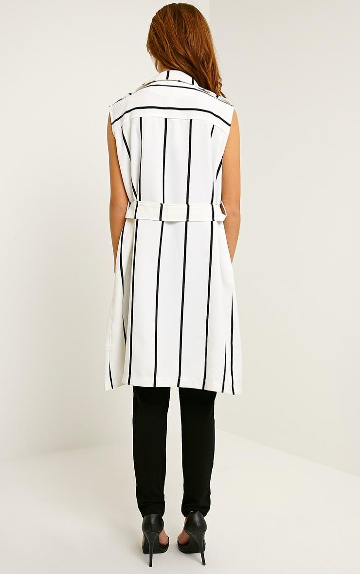 Deonta White Stripe Sleeveless Blazer 2