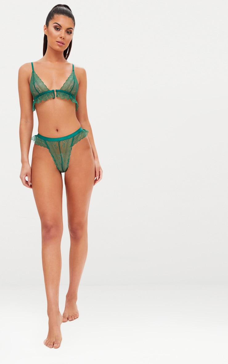 Emerald Green Frill Lace Detail Lingerie Set 4