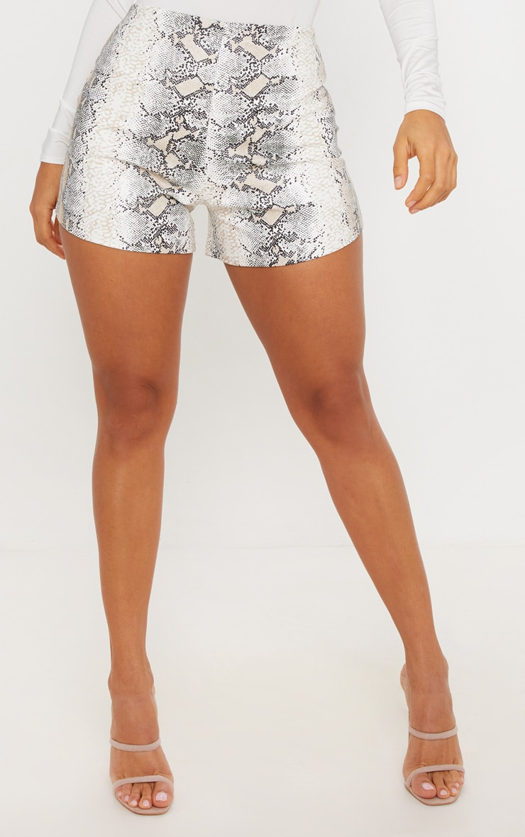 Taupe Faux Leather Snake Skin Short 2