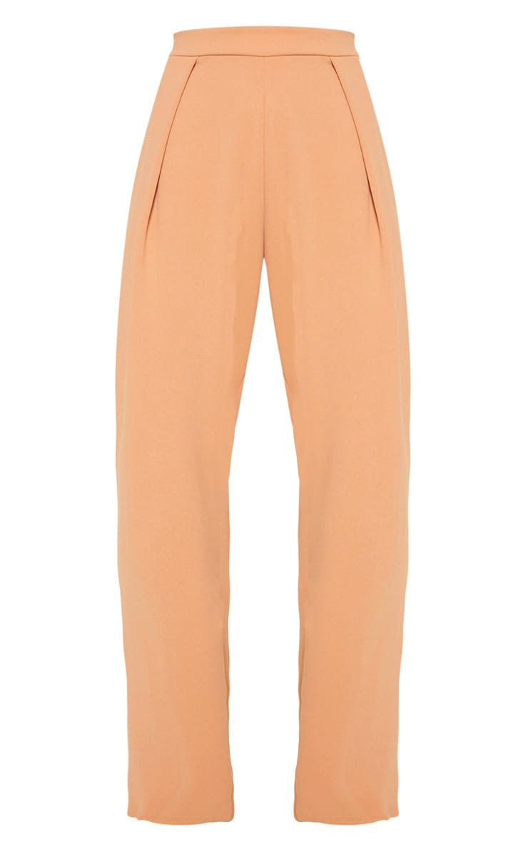 Pale Tan High Waisted Pleat Detail Tapered Trouser 3