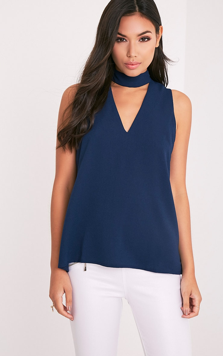 Karen Navy Cut Out Neck Shift Top 1