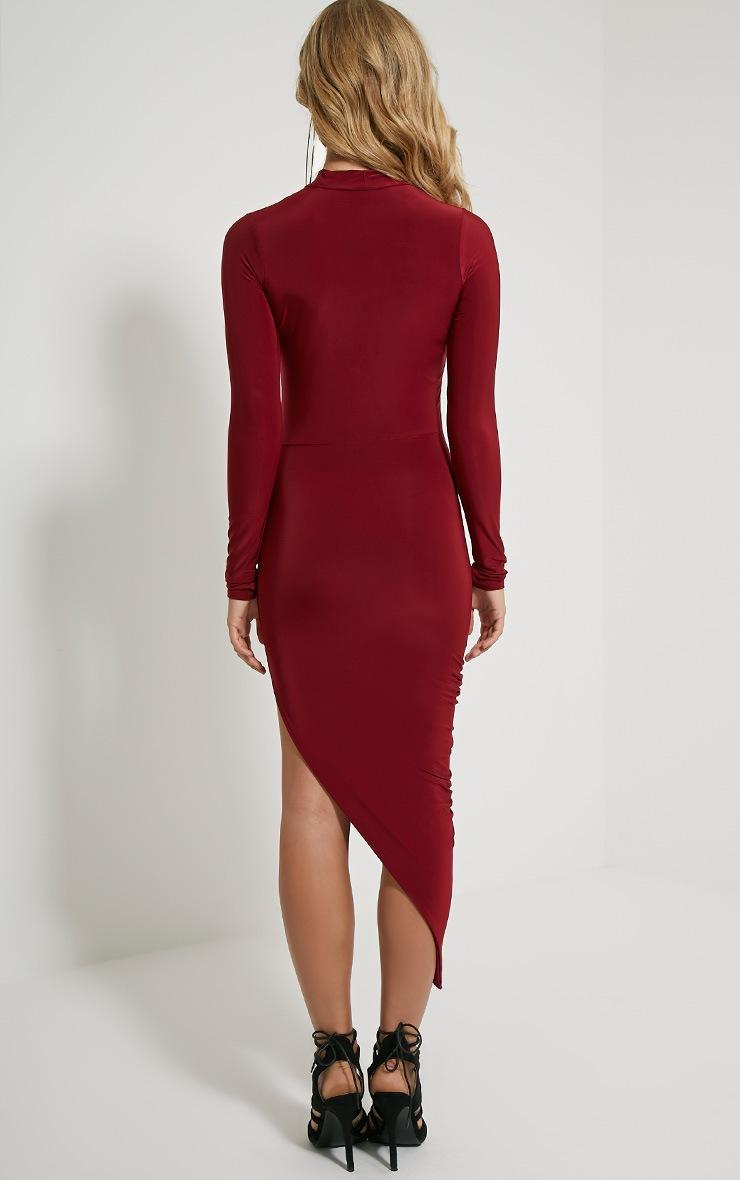 Saffy Wine Long Sleeve Drape Dress 3
