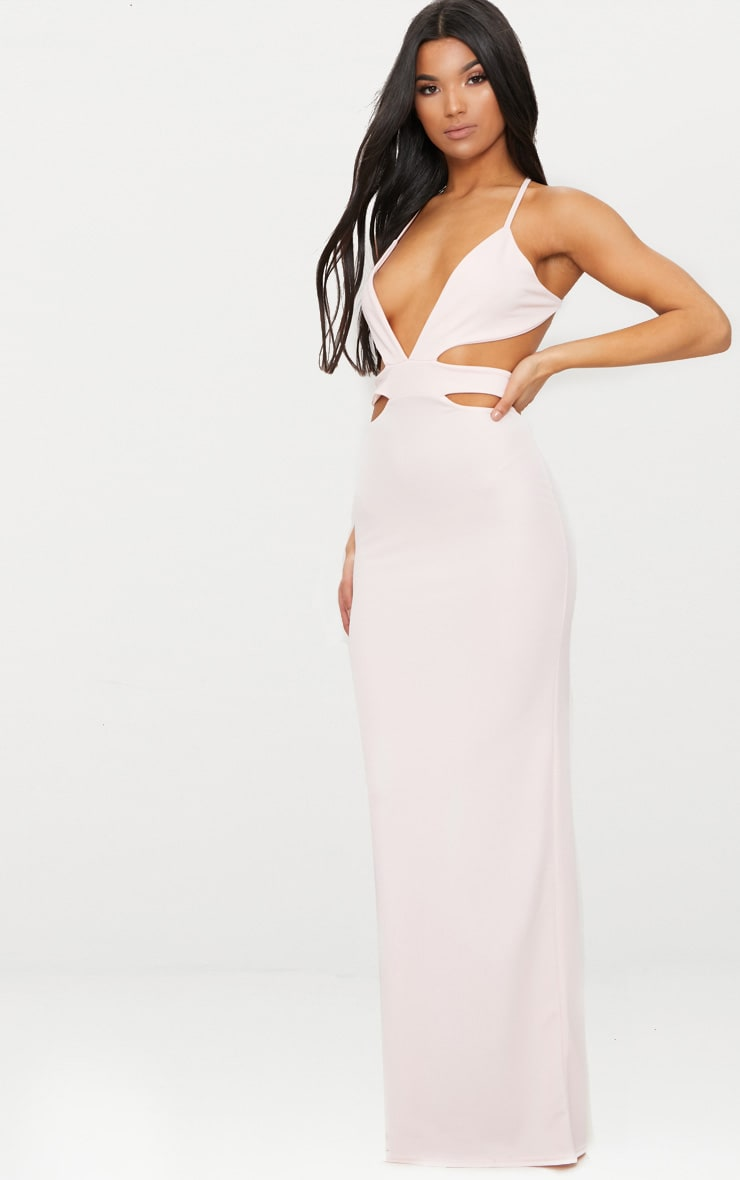 Pale Pink Strappy Cut Out Detail Maxi Dress 4