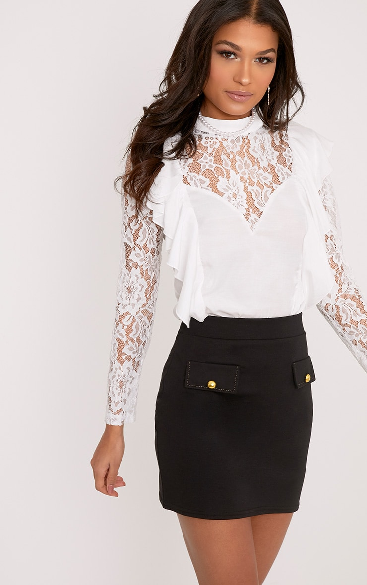Becki White Ruffle Lace Sleeve High Neck Blouse 1
