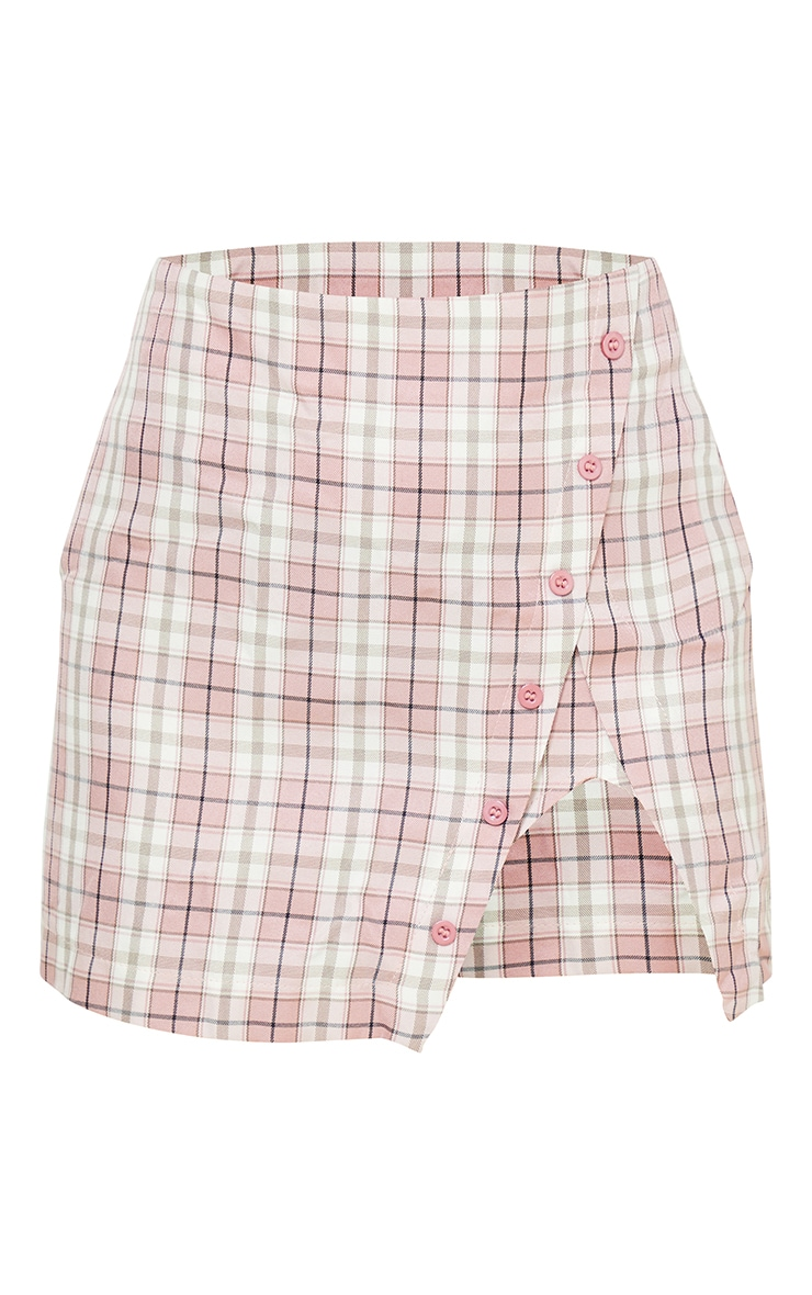 Petite Pink Checked Split Button Side Mini Skirt 6