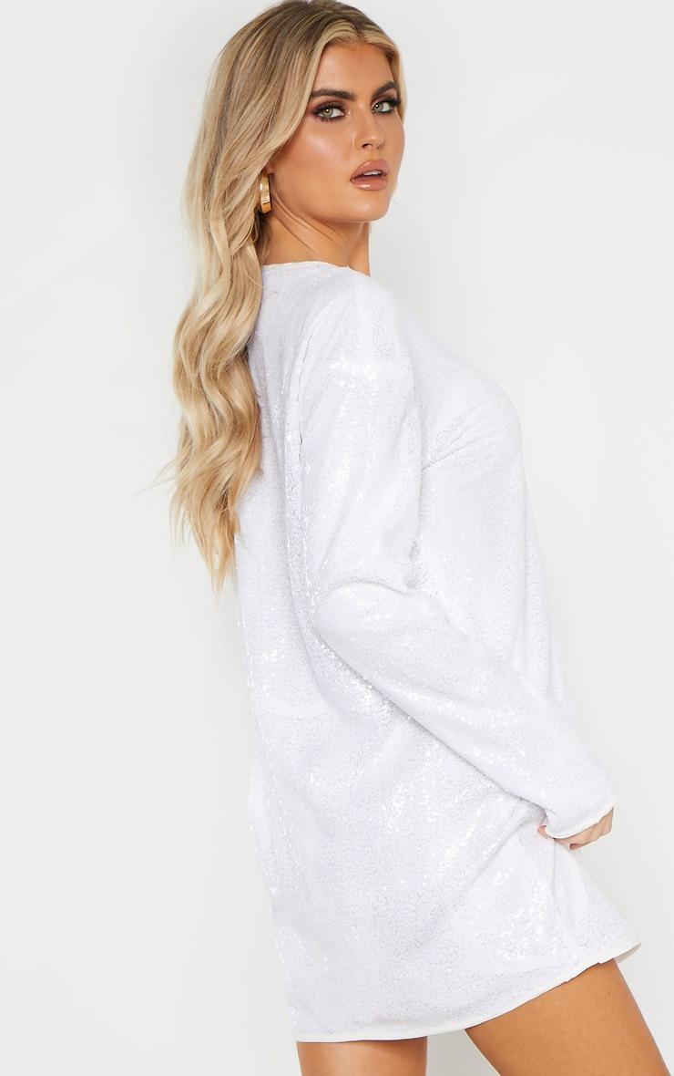 Tall White Sequin Long Sleeve Shift Dress 2