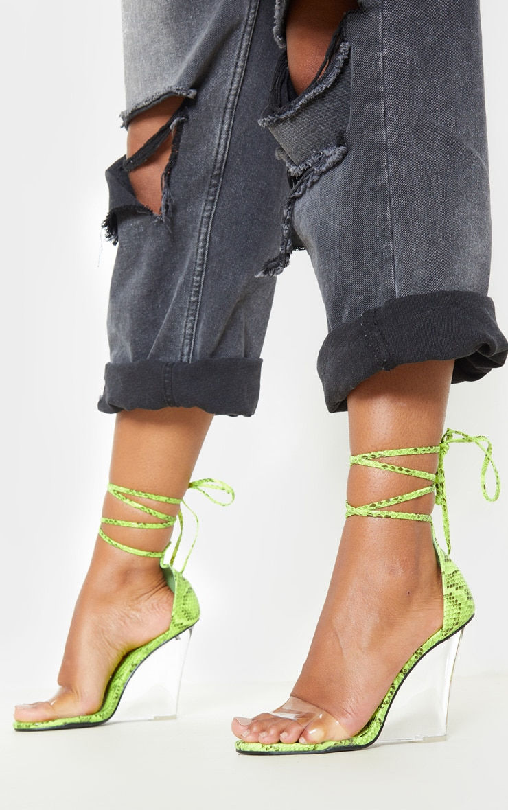 Lime Snake Ankle Tie Clear Wedges 2