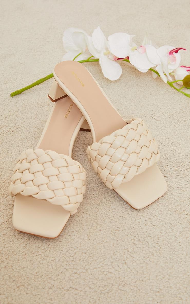 Cream Plaited Strap Low Block Flare Heel Mules 3