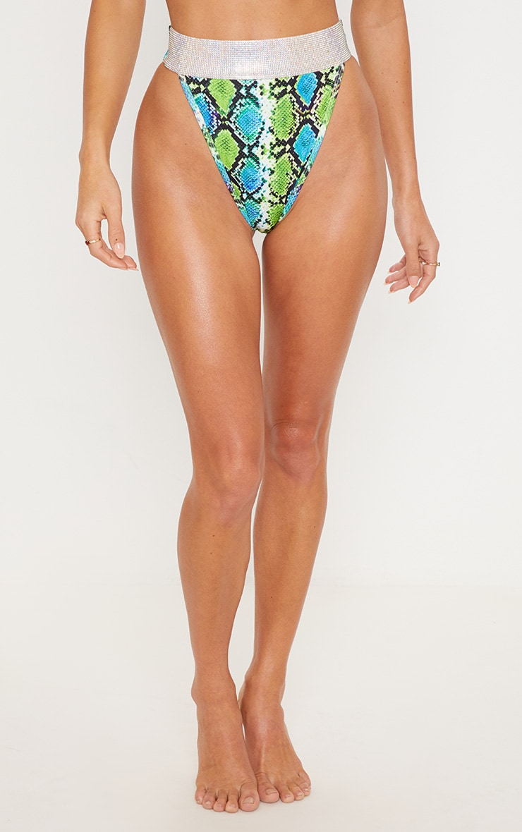 Premium Green Snake Diamante High Leg Pool Party Bottom