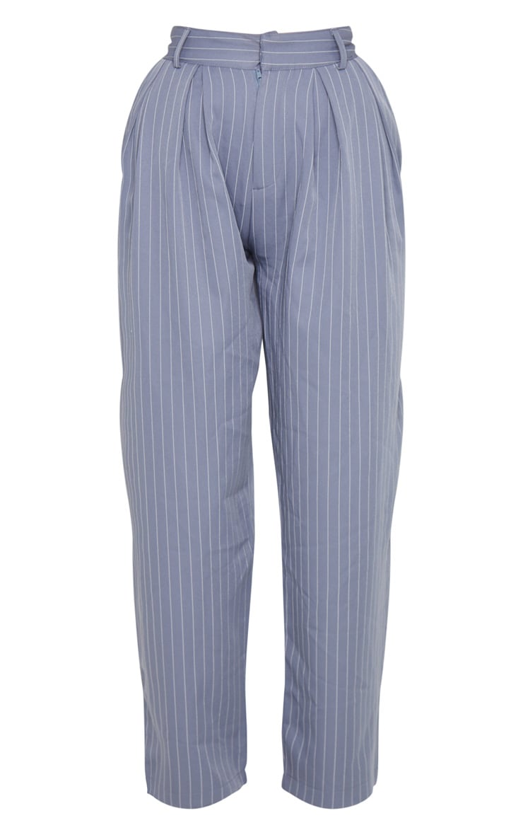 Charcoal Grey Pinstripe Woven High Waisted Cigarette Trousers 6