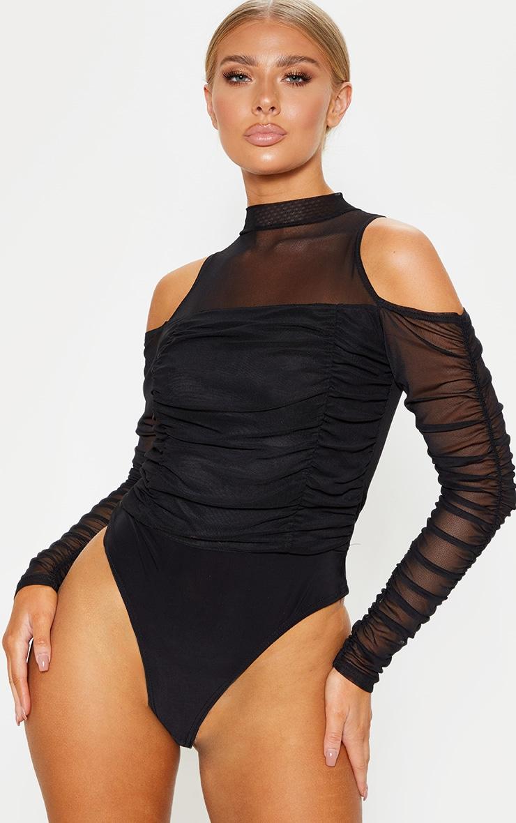 Black Cold Shoulder Ruched Sleeve Bodysuit 2