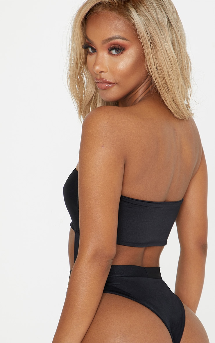 Shape Black Buckle Waist Cut Out Swimsuit 2
