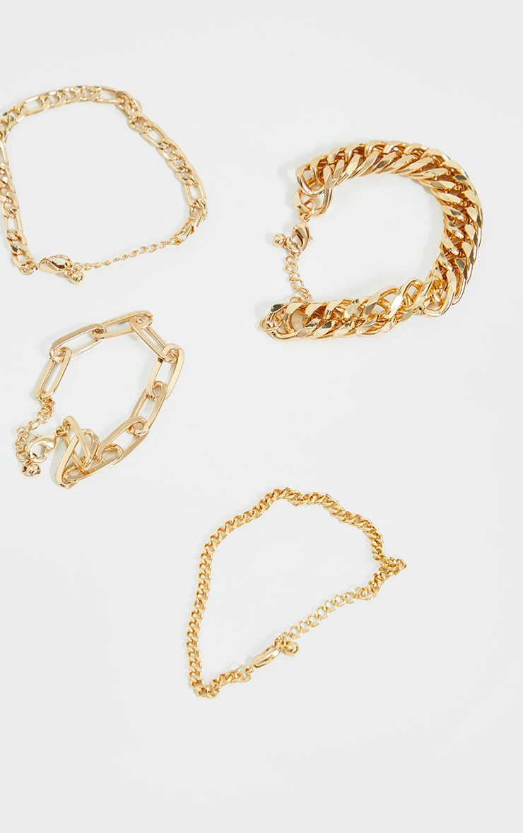 Gold Assorted Chain Bracelet 2