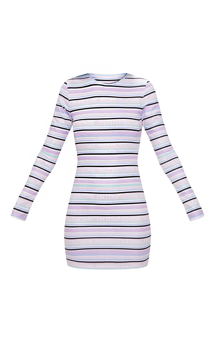 PRETTYLITTLETHING Lilac Long Sleeve Bodycon Dress 4