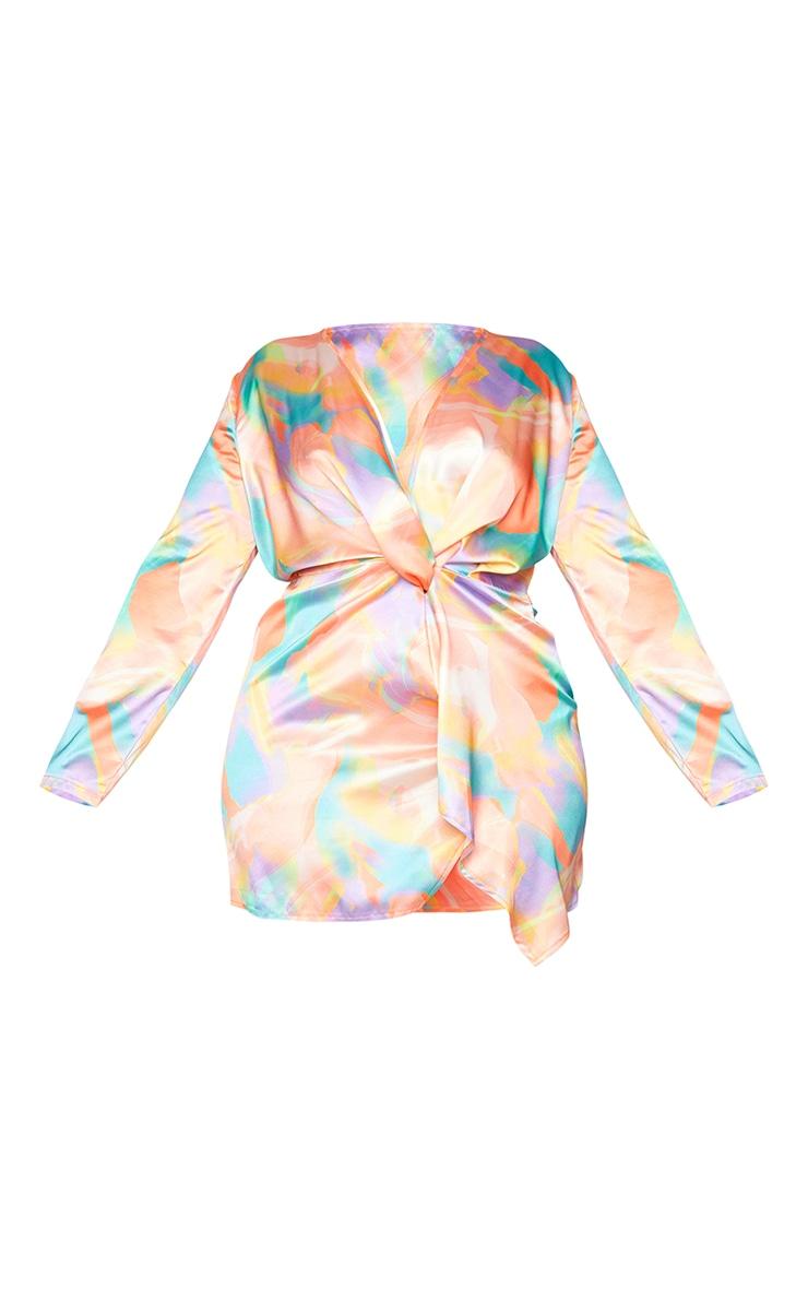 Plus Multi Abstract Print Satin Long Sleeve Wrap Dress 5