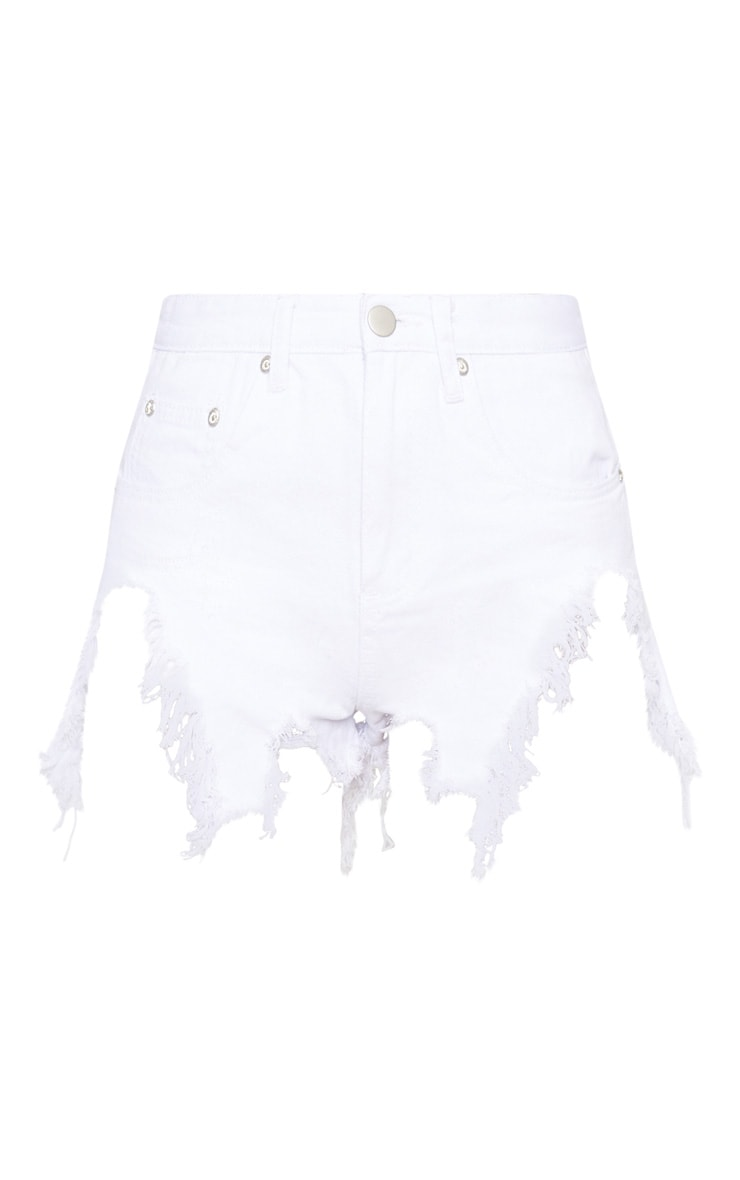 White Extreme Thigh Rip Denim Short 3