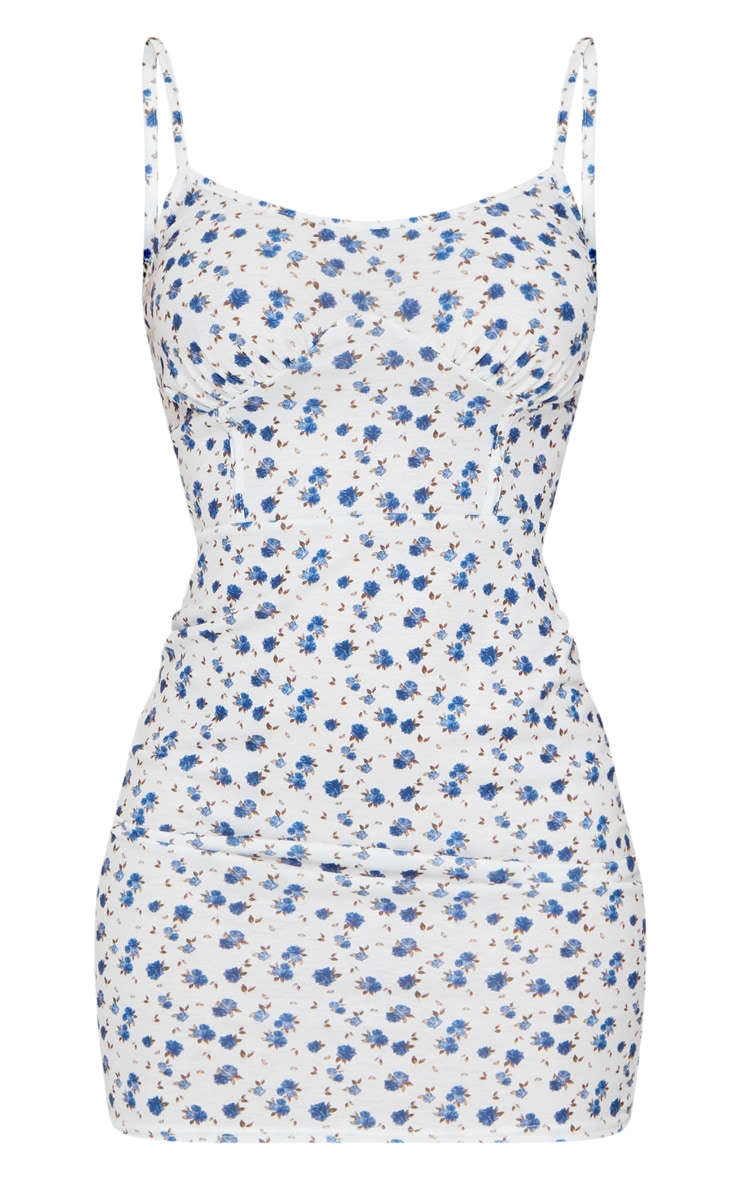 White Ditsy Print Bust Binding Detail Bodycon Dress 5