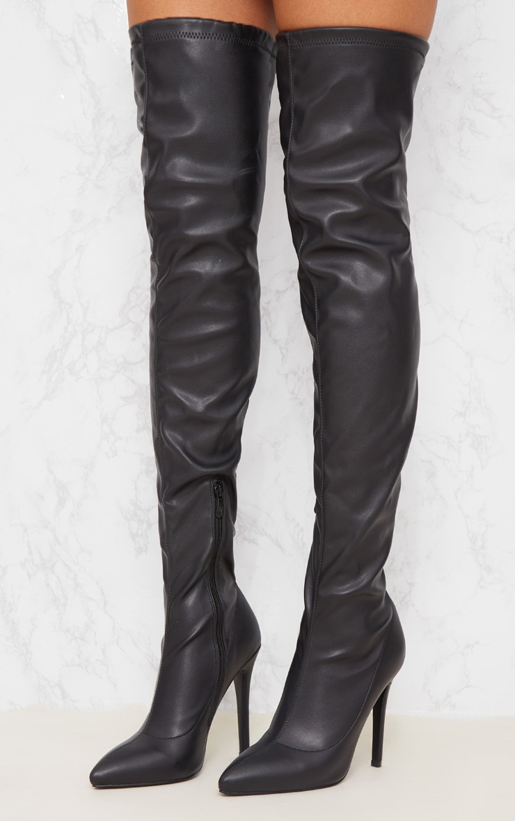 Black PU Pointed Thigh High Boot 2