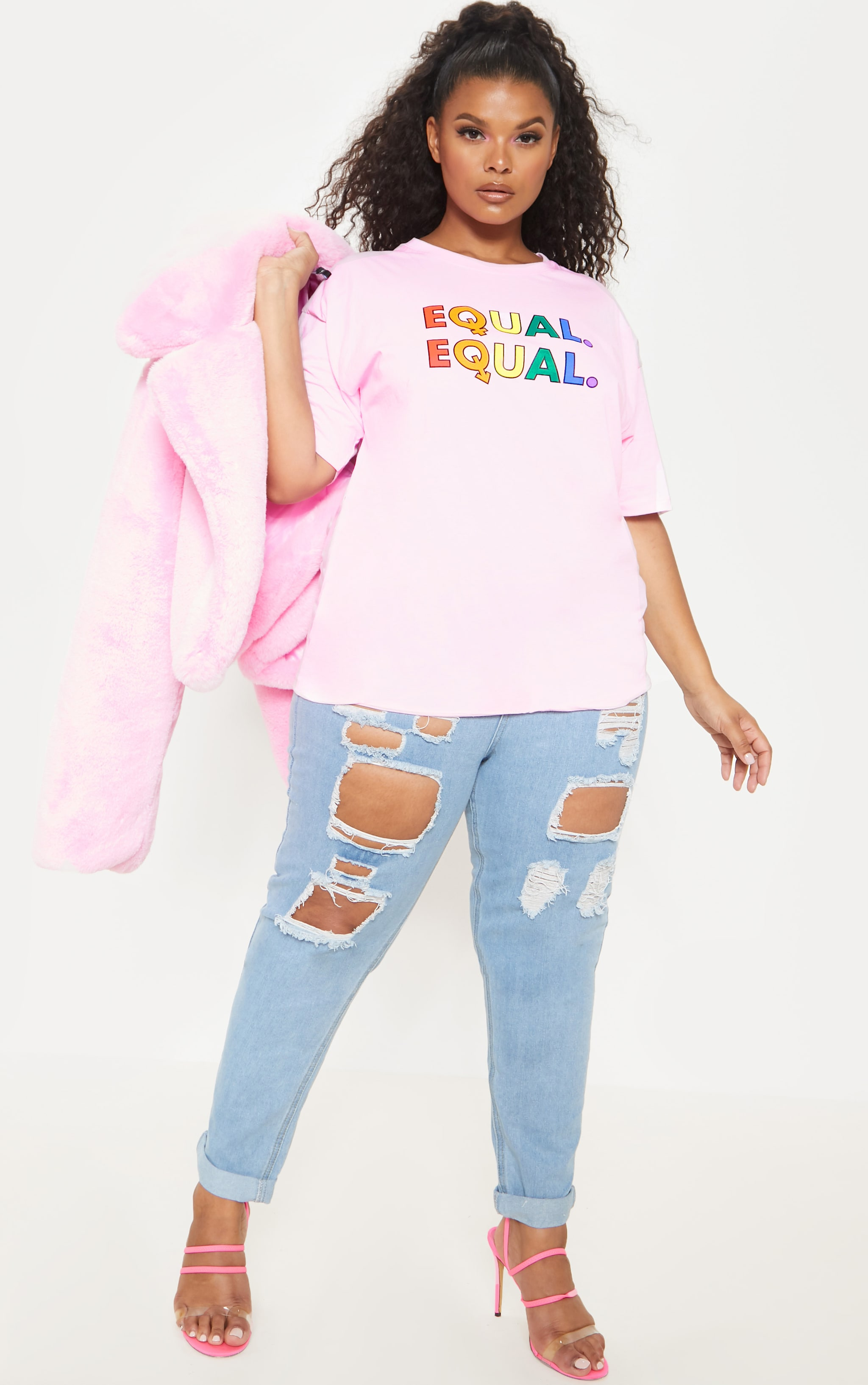 Plus Pink EQUAL Oversized T-shirt  4