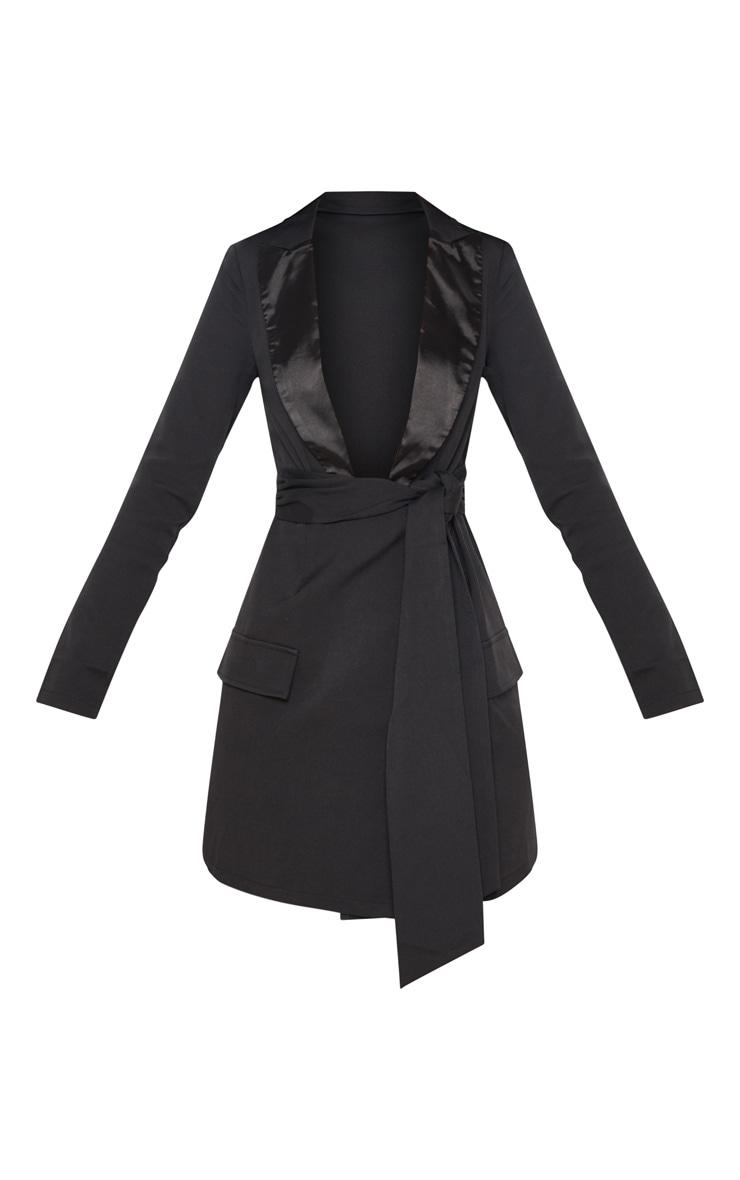 Black Satin Lapel Tie Waist Pocket Detail Blazer Dress 3