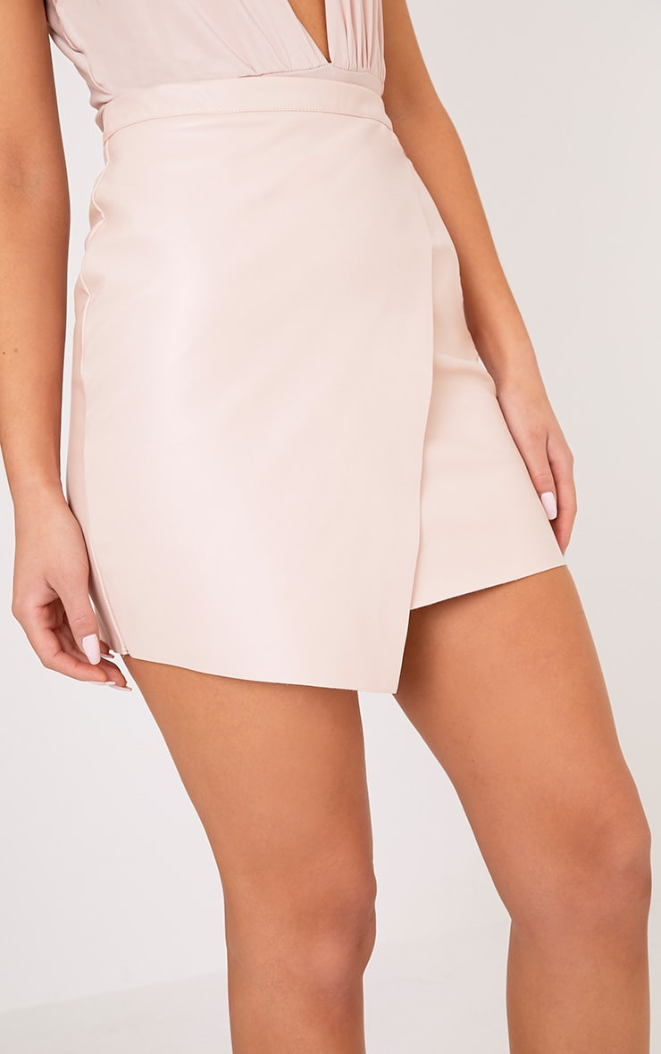 Luisa Nude Faux Leather Wrap Mini Skirt  6