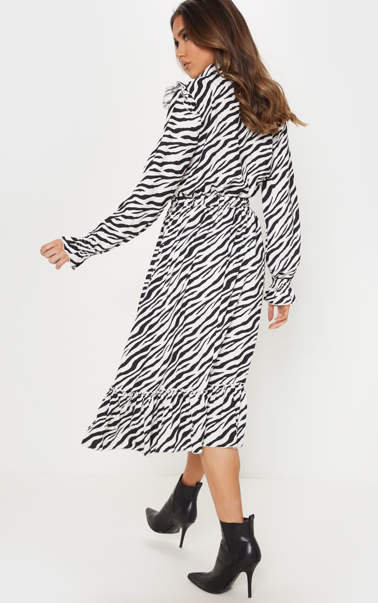 Black Zebra Print Button Front Frill Midi Shirt Dress 2