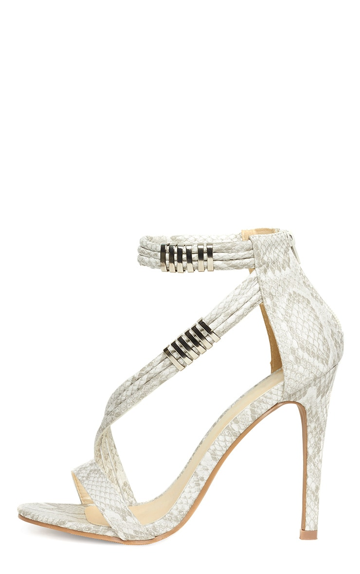 Riley Snake Cross Strap Heeled Sandals 6