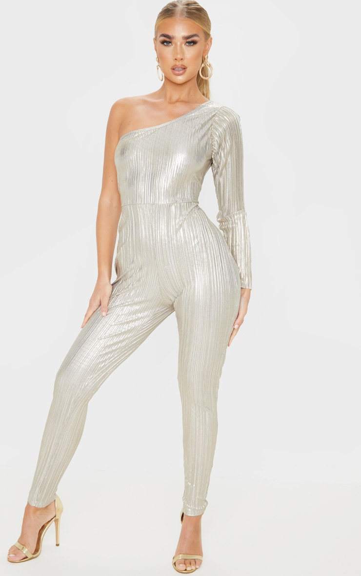 Silver Plisse One Shoulder Jumpsuit 1