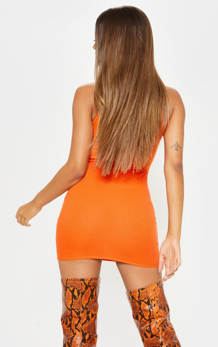 Bright Orange Ribbed Scoop Neck Bodycon Dress 2