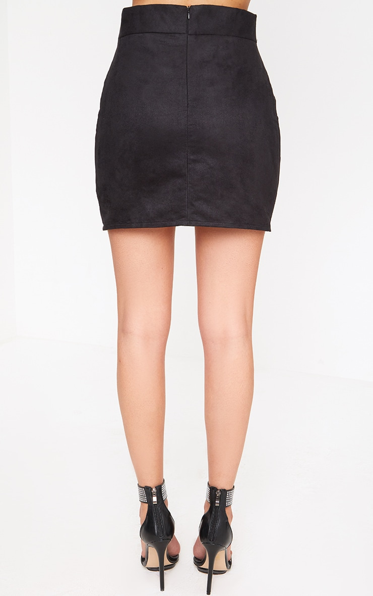 Black Faux Suede Belted Mini Skirt 4