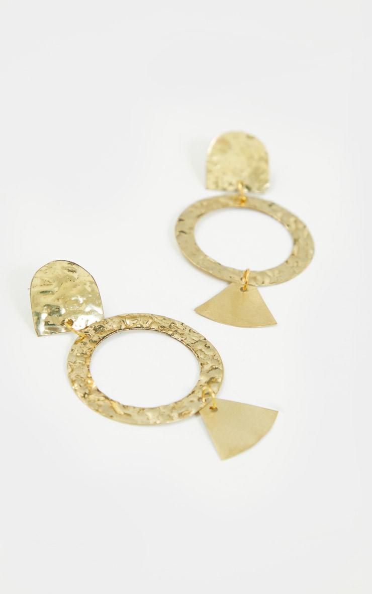 Gold Drop Hoop Textured Earrings 3