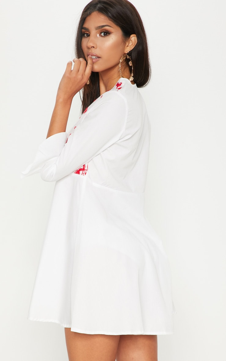 White Embroidered Frill Sleeve Smock Dress  2