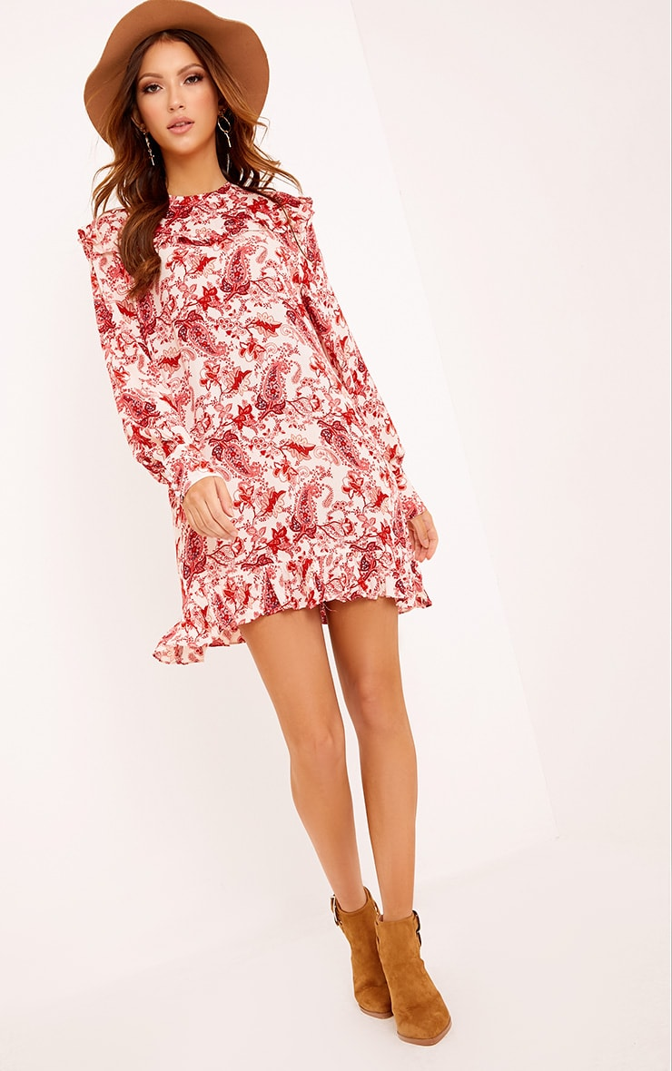 Carolinar Printed Cheese Cloth Frill Shift Dress Red 1