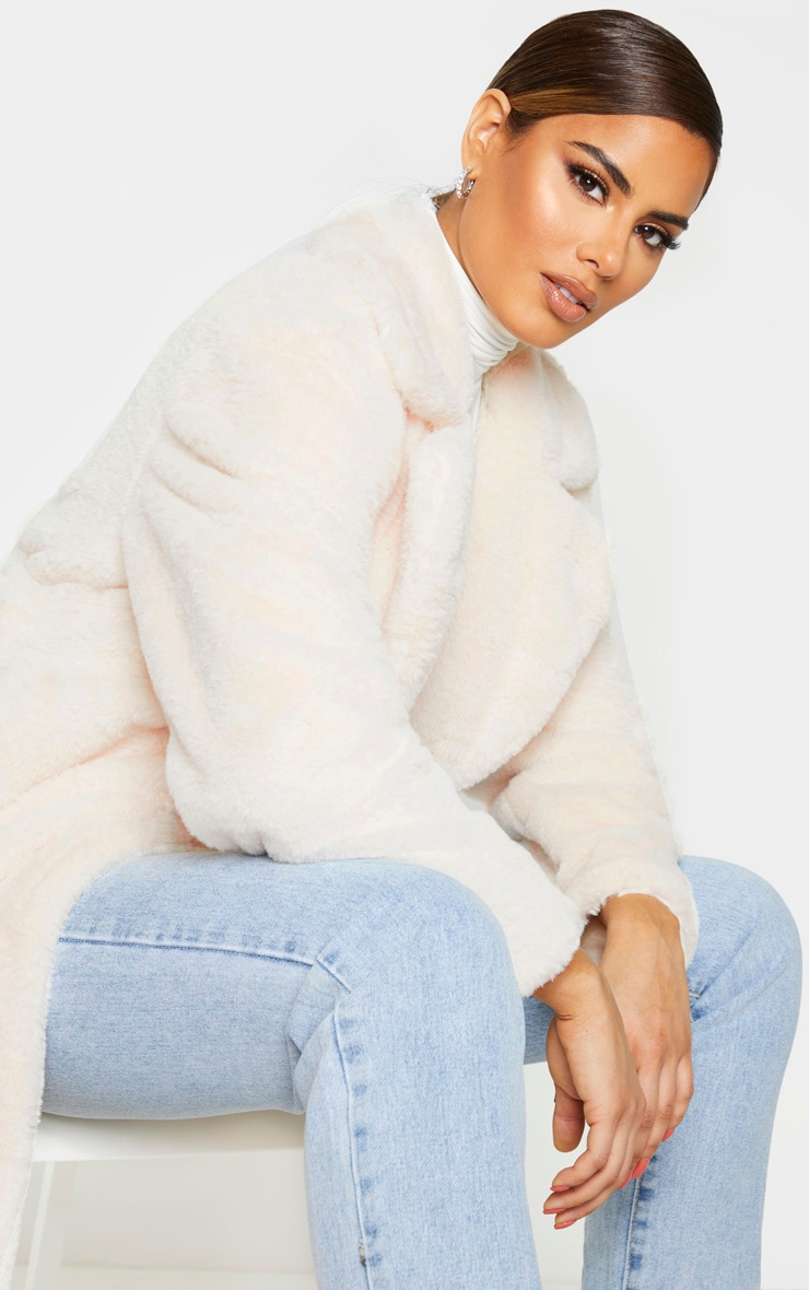 Tall Cream Belted Faux Fur Coat 5