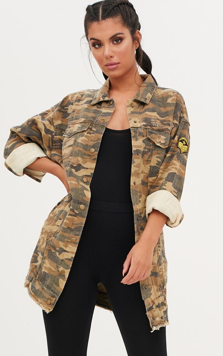 685a9e9a59c1d Khaki Camouflage Longline Jacket. Denim | PrettyLittleThing USA