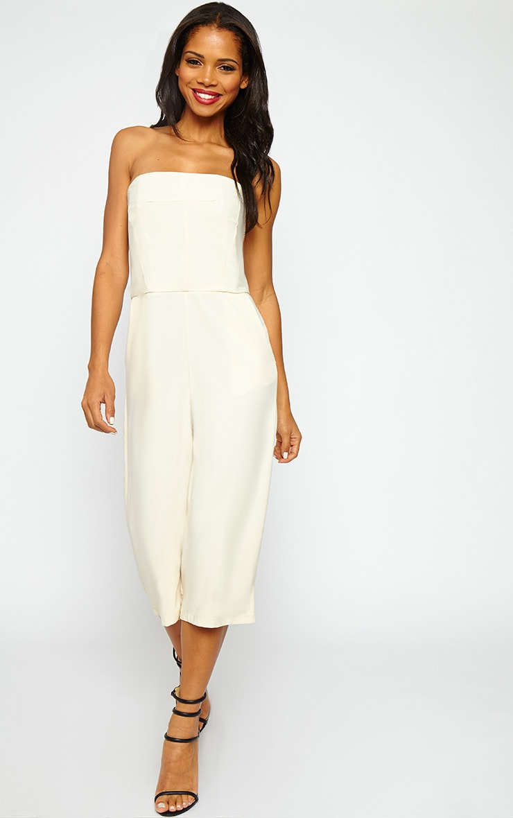 Ethelyn Cream Bandeau Culotte Jumpsuit 4