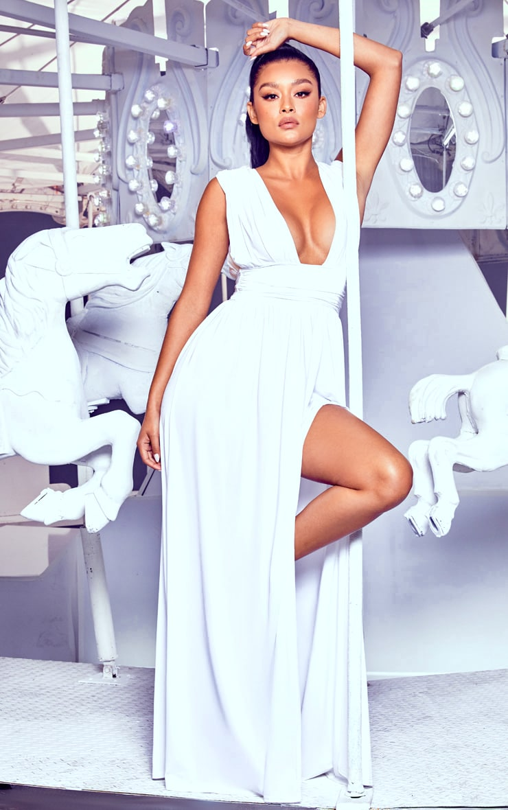 White Ruched Plunge Maxi Dress 4