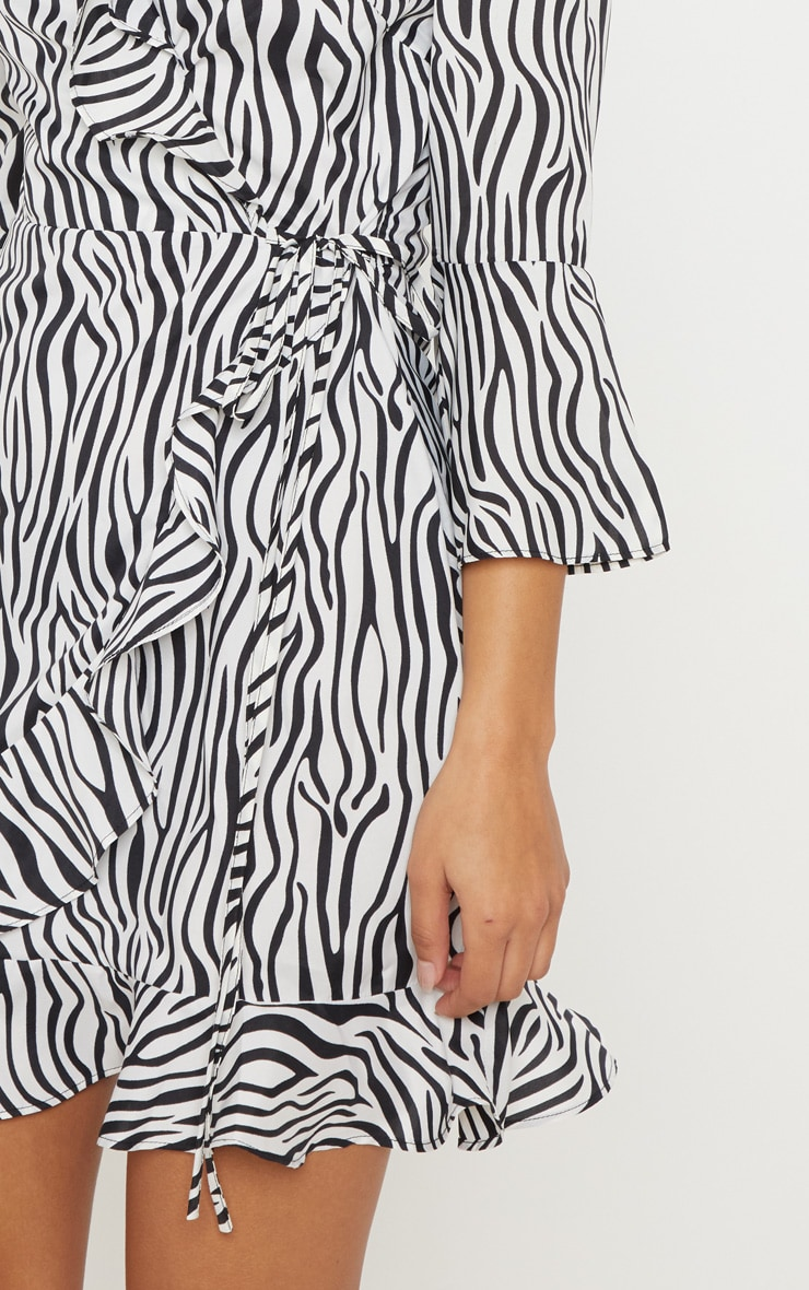 b51c89eb1c7 Black Zebra Print Wrap Tea Dress image 5