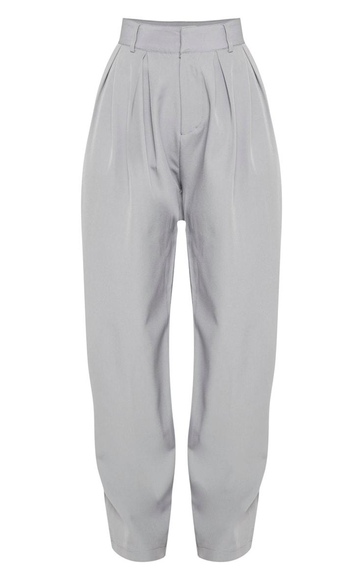 Grey Woven High Waisted Cigarette Leg Pants 3