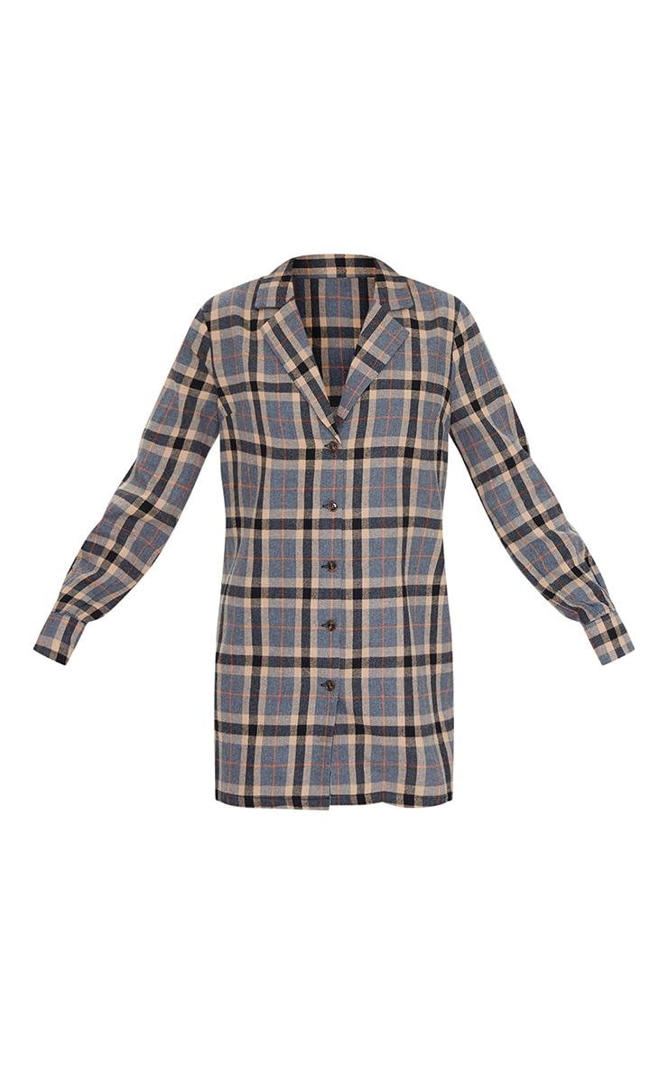 Charcoal Check Long Sleeve Shirt Dress 5