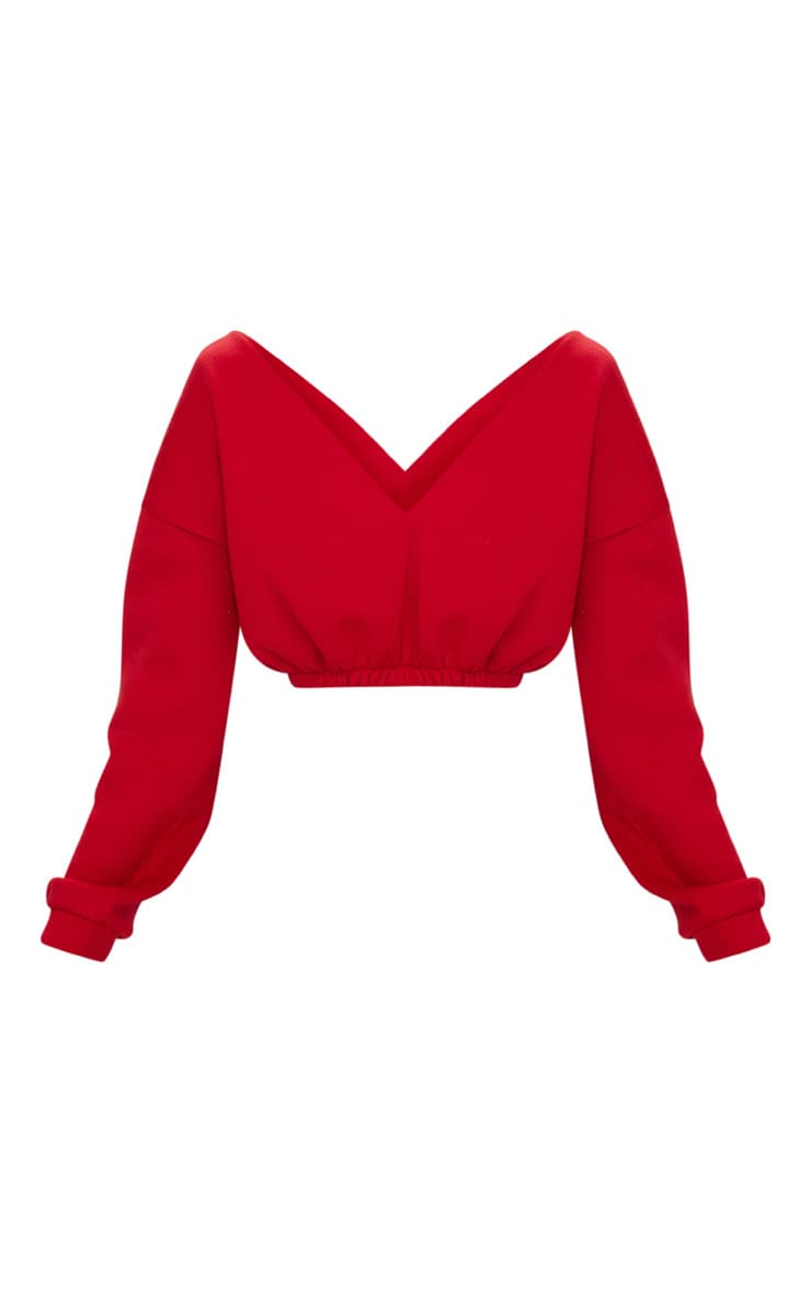 Red Crop Off Shoulder Sweater  3